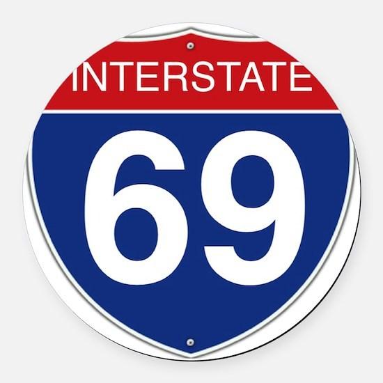 Interstate 69 Round Car Magnet