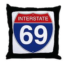 Interstate 69 Throw Pillow