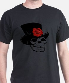 Skull with top hat and red Rose T-Shirt