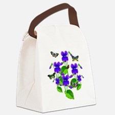 Violets and Butterflies Canvas Lunch Bag