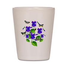 Violets and Butterflies Shot Glass