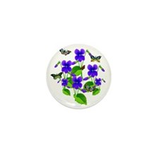 Violets and Butterflies Mini Button
