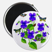 Violets and Butterflies Magnet