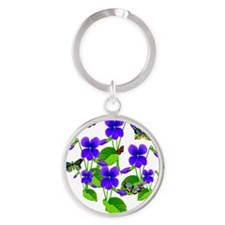 Violets and Butterflies Round Keychain