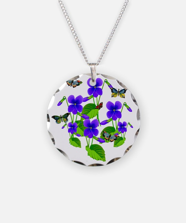 Violets and Butterflies Necklace