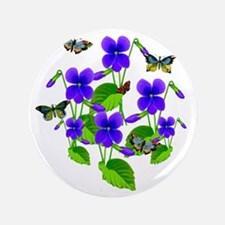 "Violets and Butterflies 3.5"" Button"