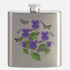 Violets and Butterflies Flask