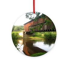 Covered Bridge and stream Round Ornament