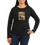 Japanese print Women's Long Sleeve Dark T-Shirt