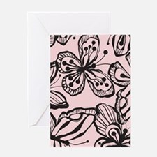 BWButterfly_BlackPink_Large Greeting Card