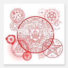 "Supernatural Red signs Square Car Magnet 3"" x 3"""