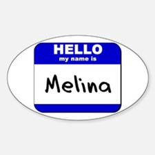 hello my name is melina Oval Decal