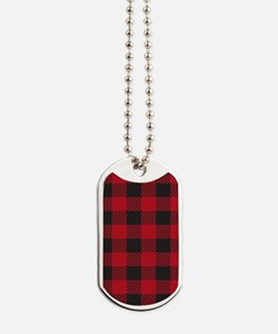 Plaid_Red1_Large Dog Tags