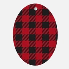 Plaid_Red1_Large Oval Ornament