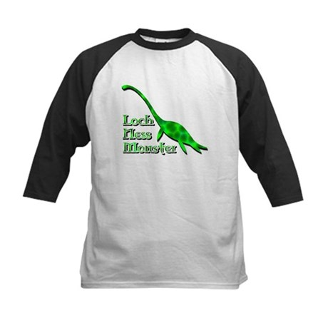 Loch Ness Monster Dark Green Kids Baseball Jersey