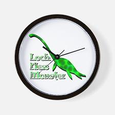 Loch Ness Monster Dark Green Wall Clock