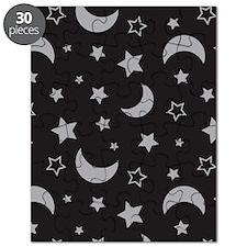 StarsandMoon_Black_Large Puzzle