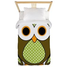 Retro Pattern Owl Green and Brown Twin Duvet