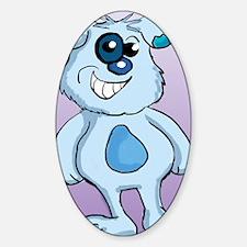 Blue Dog queen duvet Sticker (Oval)