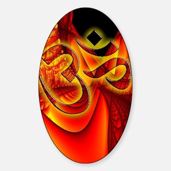 Aum on custom red fractal Sticker (Oval)