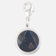 Space Cat Silver Round Charm