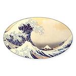 Kanagawa Japanese Art Oval Sticker
