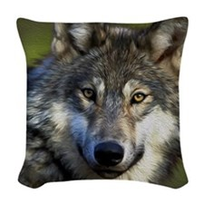 Grey Wolf Woven Throw Pillow