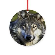 Grey Wolf Round Ornament