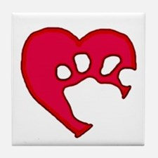 Two Tone Paw 'N Heart Tile Coaster