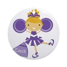 Cheerleader in Purple Round Ornament