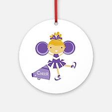 Cheerleader in Purple Round Ornament