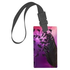 Crow Feather Purple Luggage Tag