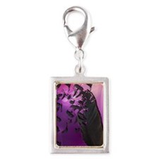 Crow Feather Purple Silver Portrait Charm