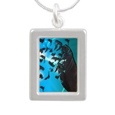 Crow Feather Blue Silver Portrait Necklace