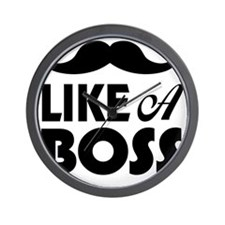 Mustache Like A Boss Wall Clock