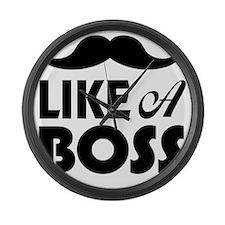 Mustache Like A Boss Large Wall Clock