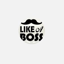 Mustache Like A Boss Mini Button