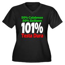 Calabrese -  Women's Plus Size Dark V-Neck T-Shirt