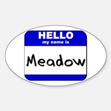 hello my name is meadow Oval Decal