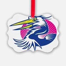 Great Blue Heron Head Retro Ornament