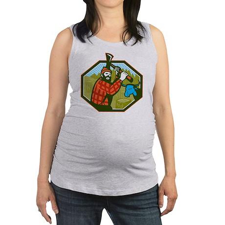 Paul Bunyan LumberJack Axe Blue Maternity Tank Top