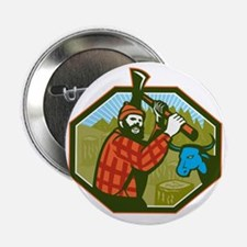 "Paul Bunyan LumberJack Axe Blue Ox 2.25"" Button"