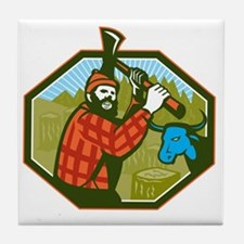 Paul Bunyan LumberJack Axe Blue Ox Tile Coaster