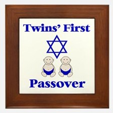 Twins' First Passover Framed Tile