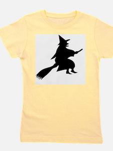 Halloween Witch And Broom Girl's Tee
