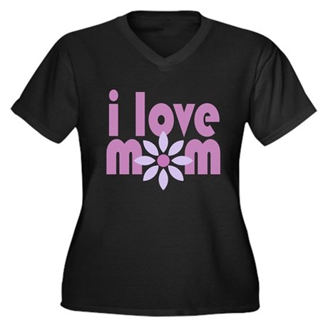 Love Mom Women's Plus Size V-Neck Dark T-Shirt