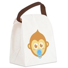Cute baby monkey with blue pacifi Canvas Lunch Bag