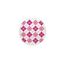 Pink Argyle Mini Button