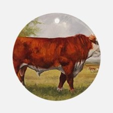 Hereford Bull The Champion Round Ornament