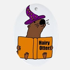 Otter Reading Magician Book  Oval Ornament